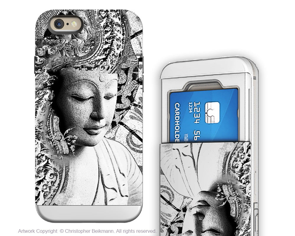 Black and White Buddha - Artistic iPhone 6 6s Case - Cardholder Case - bliss of being - iPhone 6 6s Card Holder Case - Fusion Idol Arts - New Mexico Artist Christopher Beikmann