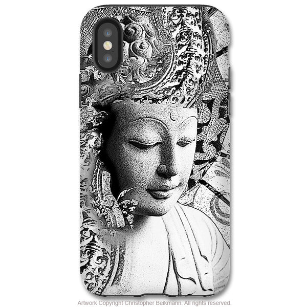 Bliss of Being Buddha - iPhone X Tough Case - Dual Layer Protection for Apple iPhone 10 - Black and White Zen Buddhist Art Case - iPhone X Tough Case - Fusion Idol Arts - New Mexico Artist Christopher Beikmann