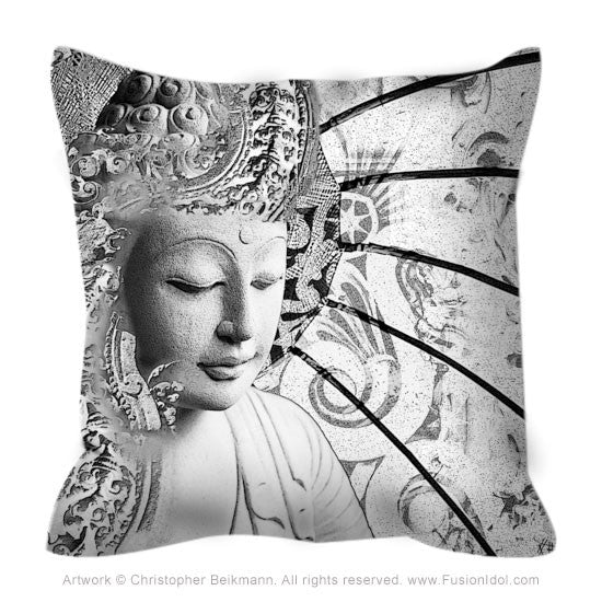 Black and White Buddha Zen Meditation Art Pillow - Bliss of Being - Throw Pillow - Fusion Idol Arts - New Mexico Artist Christopher Beikmann
