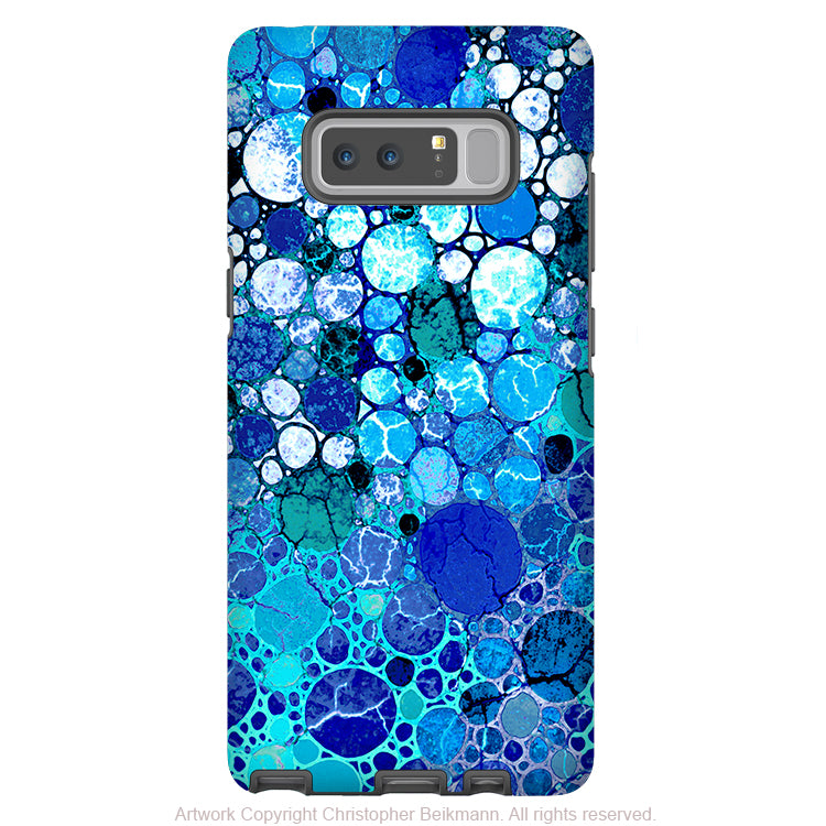 Blue Abstract Galaxy Note 8 Case - Artistic Case for Samsung Galaxy Note 8 - Blue Bubbles - Galaxy Note 8 Tough Case - Fusion Idol Arts - New Mexico Artist Christopher Beikmann