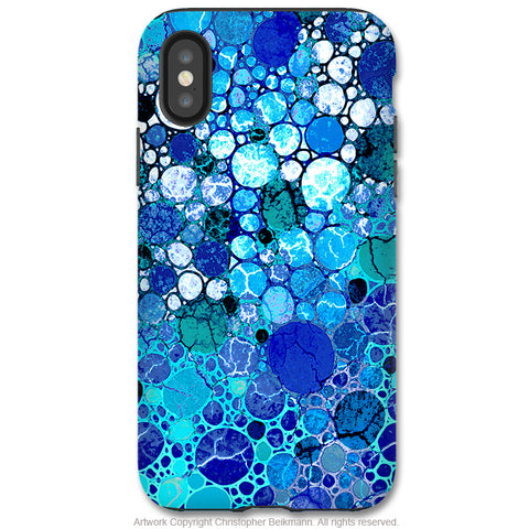 Blue Bubbles - iPhone X / XS / XS Max / XR Tough Case - Dual Layer Protection for Apple iPhone 10 - Blue Abstract Art Case - iPhone X Tough Case - Fusion Idol Arts - New Mexico Artist Christopher Beikmann