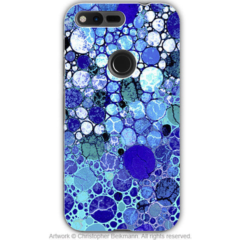 Blue Bubble Abstract - Artistic Google Pixel Tough Case - Dual Layer Protection - blue bubbles - Fusion Idol Arts