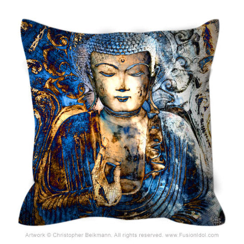 Blue Buddha Throw Pillow - Inner Guidance - Throw Pillow - Fusion Idol Arts - New Mexico Artist Christopher Beikmann