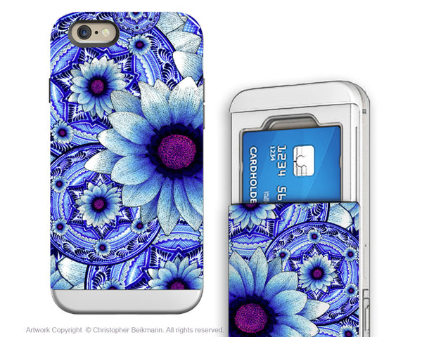 Blue Floral iPhone 6 6s Cardholder Case - Talavera Alejandra - Floral Credit Card Holder Wallet Case for iPhone 6s - Fusion Idol Arts