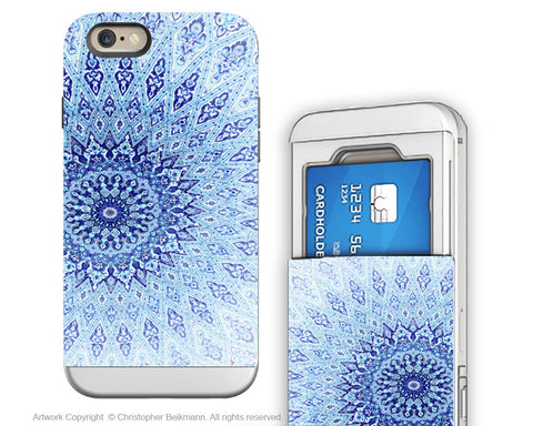 Blue Mandala iPhone 6 6s Cardholder Case - Zen Art Credit Card Holder Wallet Case for iPhone 6s - Cloud Mandala - iPhone 6 6s Card Holder Case - Fusion Idol Arts - New Mexico Artist Christopher Beikmann