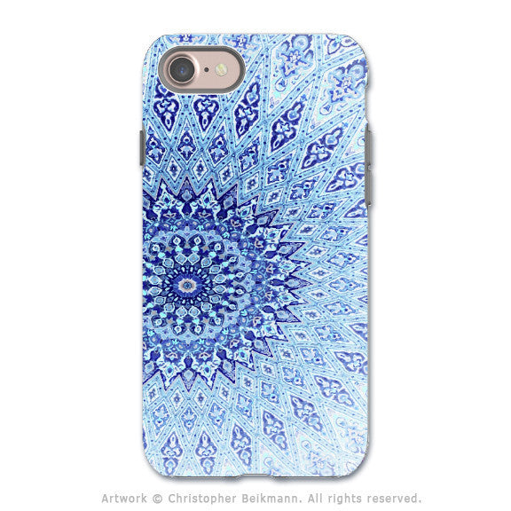 Blue Zen Mandala - Artistic iPhone 7 Tough Case - Dual Layer Protection - Cloud Mandala - iPhone 7 Tough Case - Fusion Idol Arts - New Mexico Artist Christopher Beikmann