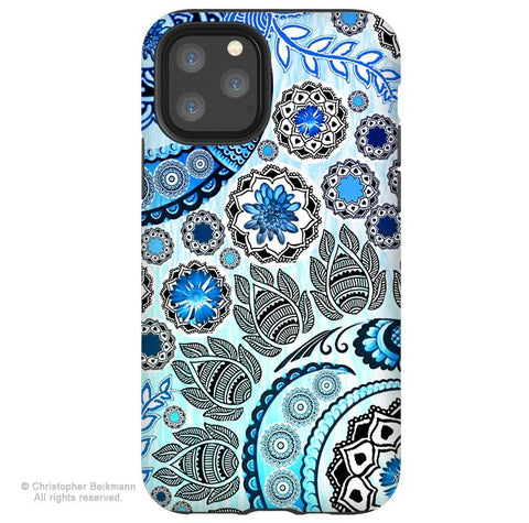 Blue Mehndi - iPhone 11 / 11 Pro / 11 Pro Max Tough Case - Dual Layer Protection for Apple iPhone Blue Paisley Art Case - iPhone 11 Tough Case - Fusion Idol Arts - New Mexico Artist Christopher Beikmann