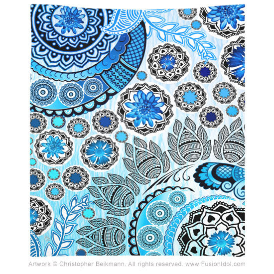 Blue Mehndi Paisley Tapestry - Tapestry - Fusion Idol Arts - New Mexico Artist Christopher Beikmann