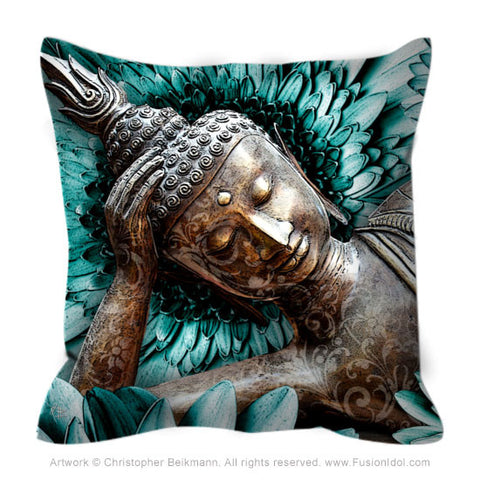 Blue and Brown Reclining Buddha Throw Pillow - Mind Bloom - Fusion Idol Arts