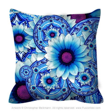 Blue and Purple Floral Throw Pillow - Talavera Alejandra - Throw Pillow - Fusion Idol Arts - New Mexico Artist Christopher Beikmann