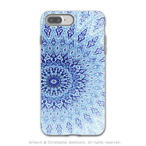 Blue Zen Mandala - Artistic iPhone 7 PLUS Tough Case - Dual Layer Protection - Cloud Mandala - iPhone 7 Plus Tough Case - Fusion Idol Arts - New Mexico Artist Christopher Beikmann
