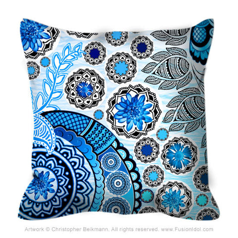 Blue Floral Paisley Pillow - Blue Mehndi - Throw Pillow - Fusion Idol Arts - New Mexico Artist Christopher Beikmann
