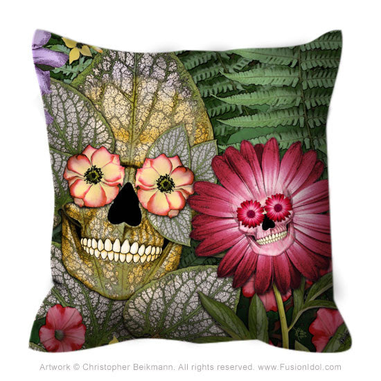 Garden Floral Skull Pillow - Born Again - Throw Pillow - Fusion Idol Arts - New Mexico Artist Christopher Beikmann
