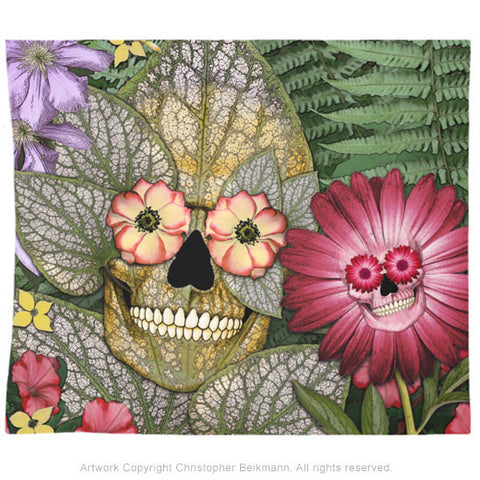 Born Again Botaniskull Tapestry - Tapestry - Fusion Idol Arts - New Mexico Artist Christopher Beikmann