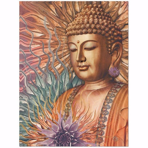 Buddha Floral Canvas - Orange, Teal and Lavender Zen Buddha Wall Art - Proliferation of Peace - Premium Canvas Gallery Wrap - Fusion Idol Arts - New Mexico Artist Christopher Beikmann
