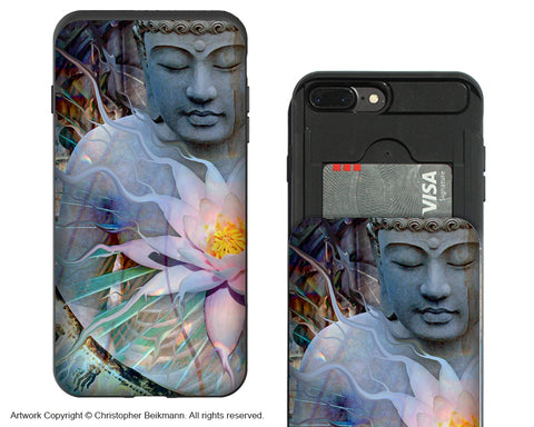 Buddha and Lotus Apple iPhone 7 Plus Card Holder Case - Wallet Style Compartment Case - Living Radiance - iPhone 7 Plus Card Holder Case - Fusion Idol Arts - New Mexico Artist Christopher Beikmann