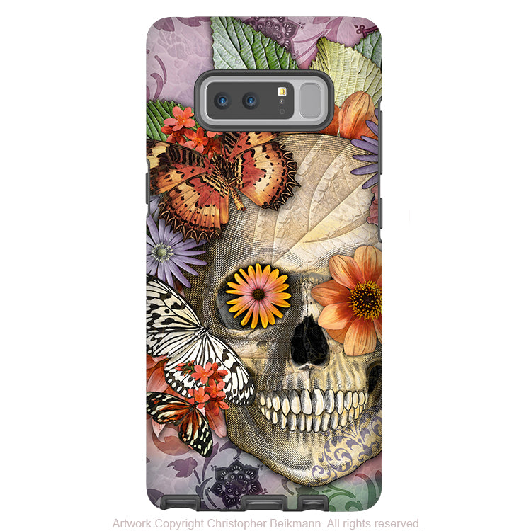 Butterfly Sugar Skull Galaxy Note 8 Case - Butterfly Botaniskull - Floral Sugar Skull Note 8 Tough Case - Galaxy Note 8 Tough Case - Fusion Idol Arts - New Mexico Artist Christopher Beikmann