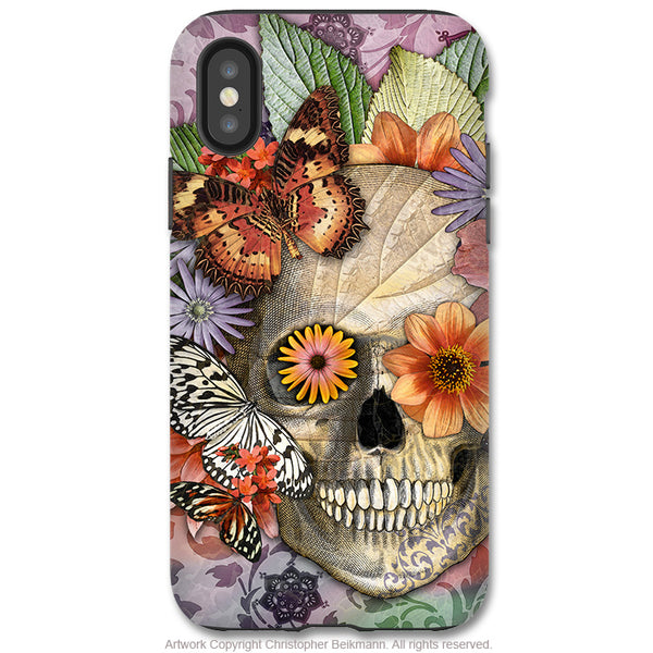 Butterfly Botaniskull - iPhone X / XS / XS Max / XR Tough Case - Dual Layer Protection for Apple iPhone 10 - Floral Sugar Skull Case - iPhone X Tough Case - Fusion Idol Arts - New Mexico Artist Christopher Beikmann