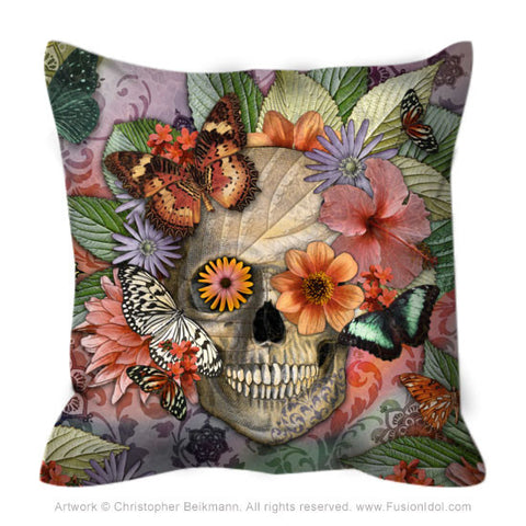 Butterfly Botaniskull Throw Pillow - Botanical Sugar Skull Pillow - Fusion Idol - Art and Gifts by Artist Christopher Beikmann