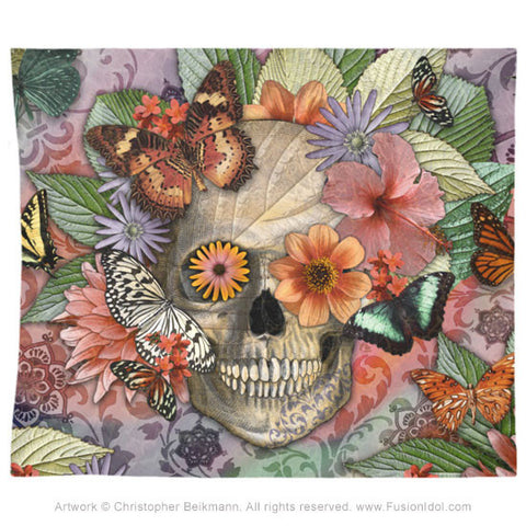 Butterfly Botaniskull Tapestry - Botanical Sugar Skull Art - Fusion Idol Arts
