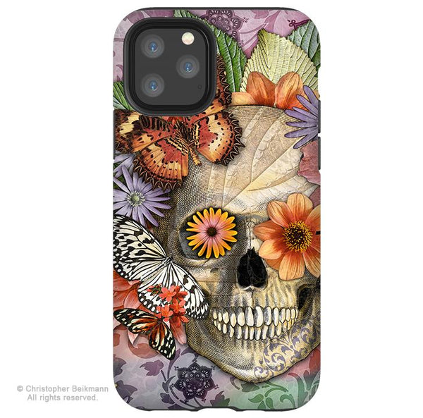 Butterfly Botaniskull - iPhone 11 / 11 Pro / 11 Pro Max Tough Case - Dual Layer Protection for Apple iPhone XI - Butterfly Floral Sugar Skull Case - iPhone 11 Tough Case - Fusion Idol Arts - New Mexico Artist Christopher Beikmann