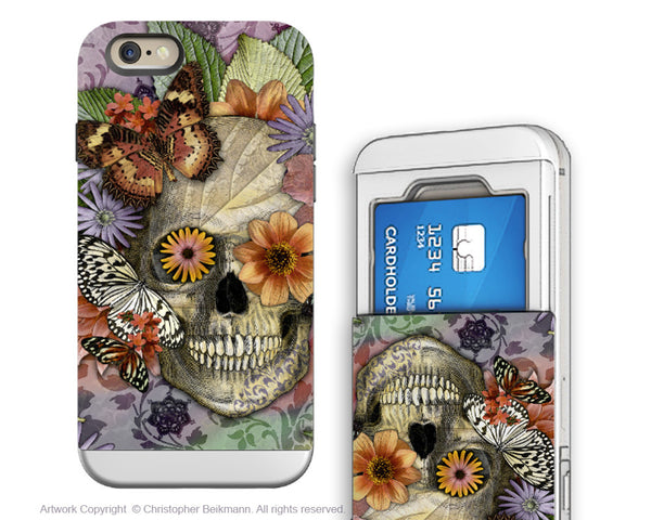 Butterfly Skull iPhone 6 6s Cardholder Case - Botanical Sugar Skull - Day of the Dead Credit Card Holder Wallet Case for iPhone 6s - iPhone 6 6s Card Holder Case - Fusion Idol Arts - New Mexico Artist Christopher Beikmann