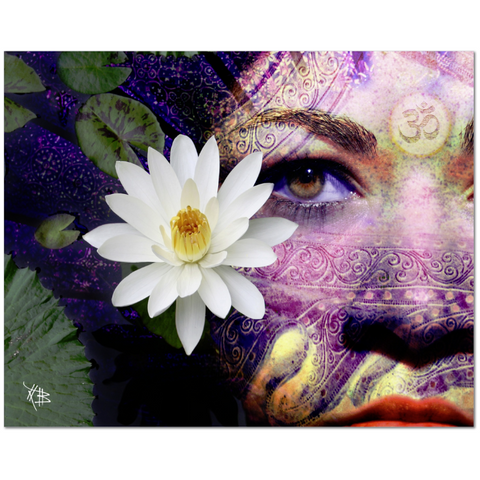 Hindu Lakshmi Goddess Photo Collage Art Canvas - Full Moon Lakshmi - Fusion Idol - Art and Gifts by Artist Christopher Beikmann - 1