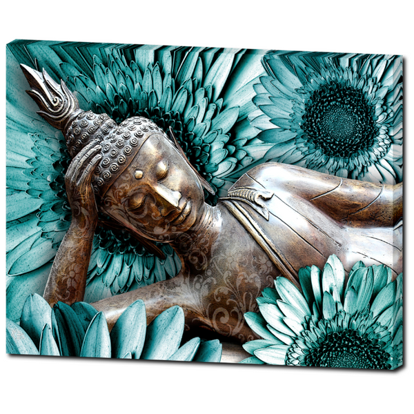 Blue and Brown Floral Buddha Art Canvas - Mind Bloom - Premium Canvas Gallery Wrap - Fusion Idol Arts - New Mexico Artist Christopher Beikmann