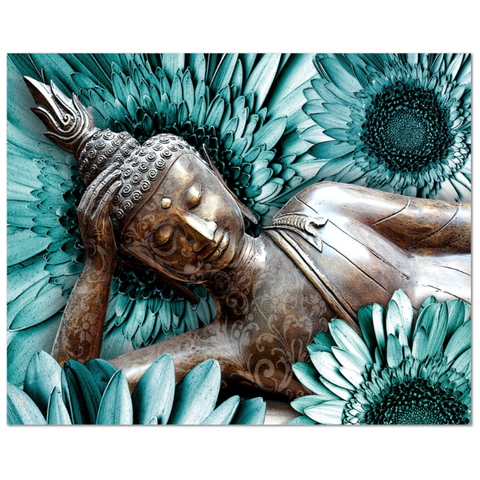 Blue and Brown Floral Buddha Art Canvas - Mind Bloom, Premium Canvas Gallery Wrap - Christopher Beikmann