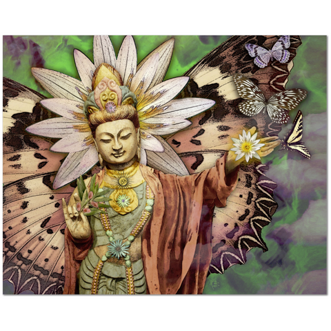Kwan Yin Goddess, Lotus and Butterfly Canvas Print - Rise Above - Fusion Idol - Art and Gifts by Artist Christopher Beikmann - 1