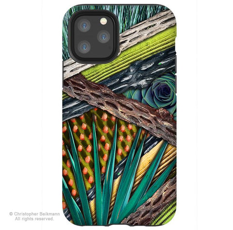 Cactus Abstractus - iPhone 11 / 11 Pro / 11 Pro Max Tough Case - Dual Layer Protection for Apple iPhone XI - Abstract Cactus Art Case - iPhone 11 Tough Case - Fusion Idol Arts - New Mexico Artist Christopher Beikmann