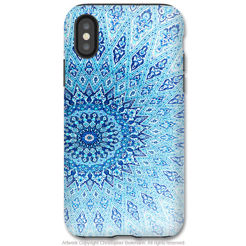Cloud Mandala - iPhone X / XS / XS Max / XR Tough Case - Dual Layer Protection for Apple iPhone 10 - Blue Zen Mandala Art Case - iPhone X Tough Case - Fusion Idol Arts - New Mexico Artist Christopher Beikmann