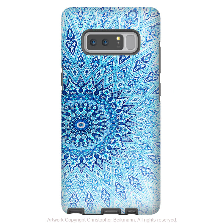 Blue Mandala Galaxy Note 8 Tough Case - Dual Layer Zen Case for Samsung Galaxy Note 8 - Cloud Mandala - Galaxy Note 8 Tough Case - Fusion Idol Arts - New Mexico Artist Christopher Beikmann