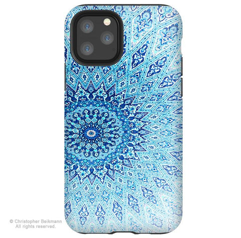 Cloud Mandala - iPhone 11 / 11 Pro / 11 Pro Max Tough Case - Dual Layer Protection for Apple iPhone XI - Blue Buddhist Art Case - iPhone 11 Tough Case - Fusion Idol Arts - New Mexico Artist Christopher Beikmann