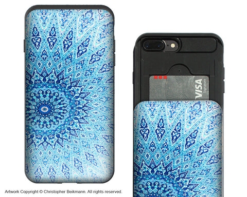Cloud Mandala iPhone 7 Plus Card Holder Case - Blue Zen Wallet Compartment Case for iPhone 7 PLUS - iPhone 7 Plus Card Holder Case - Fusion Idol Arts - New Mexico Artist Christopher Beikmann