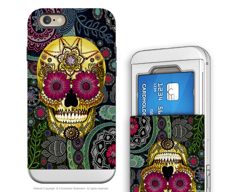 Sugar Skull iPhone 6 6s Cardholder Case - Colorful Paisley Skull - Day of the Dead Credit Card Holder Wallet Case for iPhone 6s - iPhone 6 6s Card Holder Case - Fusion Idol Arts - New Mexico Artist Christopher Beikmann