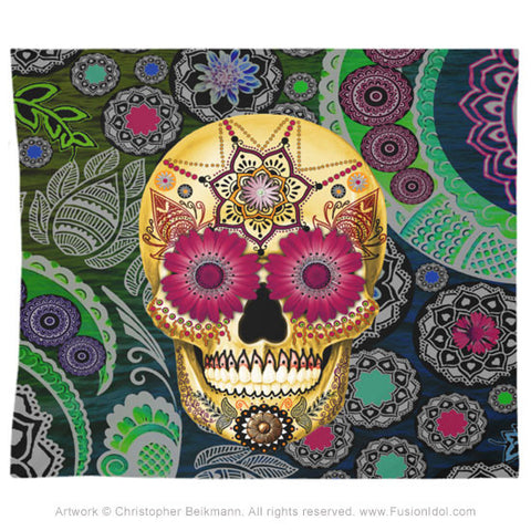 Colorful Sugar Skull Paisley Garden Tapestry - Tapestry - Fusion Idol Arts - New Mexico Artist Christopher Beikmann