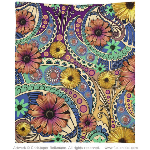 Colorful Paisley Daisy Art Tapestry- Lightweight Durable Polyester - Petals & Paisley - Tapestry - Fusion Idol Arts - New Mexico Artist Christopher Beikmann
