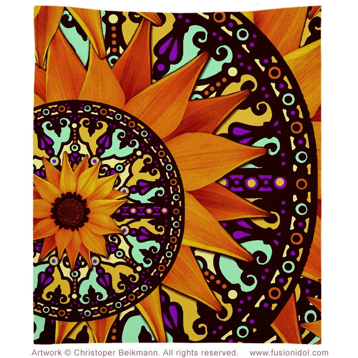 Colorful Sunflower Tapestry - Mexican Art Inspired Sunflower Talavera Wall Hanging - Tapestry - Fusion Idol Arts - New Mexico Artist Christopher Beikmann
