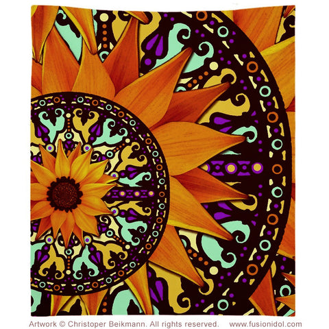 Colorful Sunflower Tapestry - Mexican Art Inspired Sunflower Talavera Wall Hanging - Fusion Idol Arts