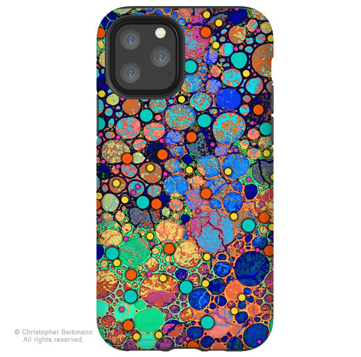 Confetti Bubbles - iPhone 11 / 11 Pro / 11 Pro Max Tough Case - Dual Layer Protection for Apple iPhone XI - Colorful Abstract Art Case - iPhone 11 Tough Case - Fusion Idol Arts - New Mexico Artist Christopher Beikmann