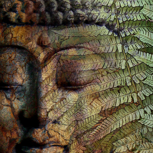 Green Fern Buddha Art - Canvas Print - Solid Surface - Convergence of Thought - Premium Canvas Gallery Wrap - Fusion Idol Arts - New Mexico Artist Christopher Beikmann