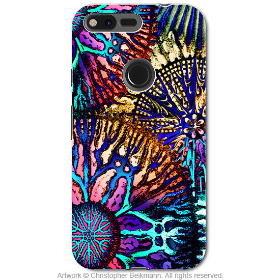 Colorful Abstract Coral - Artistic Google Pixel Tough Case - Dual Layer Protection - cosmic star coral - Google Pixel Tough Case - Fusion Idol Arts - New Mexico Artist Christopher Beikmann