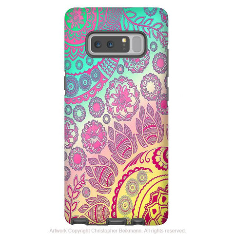 Pastel Paisley Galaxy NOTE 8 Case - Cotton Candy Mehndi - Floral Boho Paisley Samsung Galaxy NOTE 8 Tough Case - Galaxy Note 8 Tough Case - Fusion Idol Arts - New Mexico Artist Christopher Beikmann