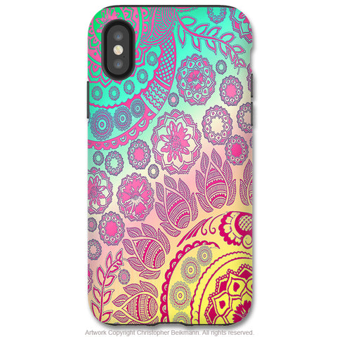 Cotton Candy Mehndi - Paisley iPhone X / XS / XS Max / XR Tough Case - Dual Layer Protection for Apple iPhone 10 - Pastel Paisley Floral Art Case - iPhone X Tough Case - Fusion Idol Arts - New Mexico Artist Christopher Beikmann