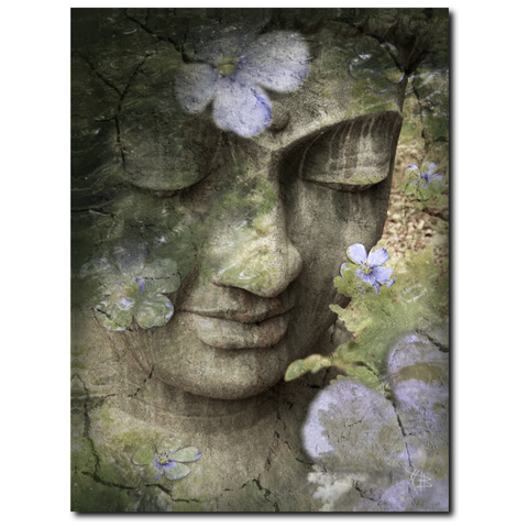 Sage Green Buddha Canvas - Premium Hard Surface Art Canvas - Inner Tranquility - Fusion Idol Arts
