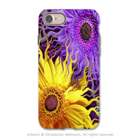 Purple and Yellow Daisy - Artistic iPhone 7 Tough Case - Dual Layer Protection - Daisy Yin Daisy Yang - iPhone 7 Tough Case - Fusion Idol Arts - New Mexico Artist Christopher Beikmann