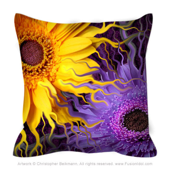 Daisy Yin Daisy Yang Throw Pillow - Purple and Yellow Floral Pillow - Fusion Idol Arts