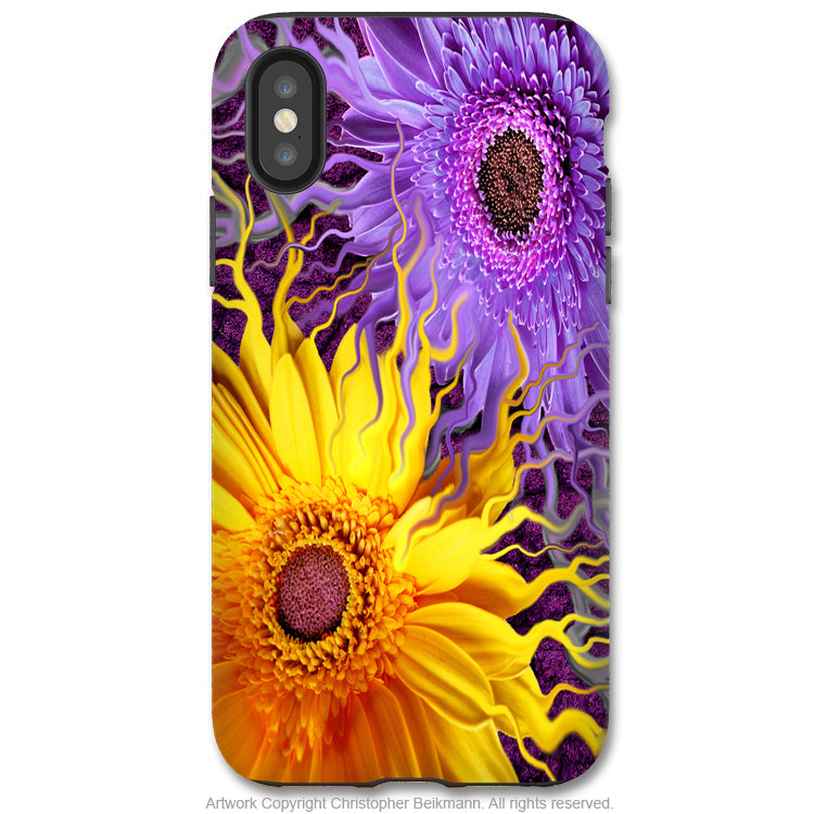 Daisy Yin Daisy Yang - iPhone X Tough Case - Dual Layer Protection for Apple iPhone 10 - Purple and Yellow Floral Art Case - iPhone X Tough Case - Fusion Idol Arts - New Mexico Artist Christopher Beikmann
