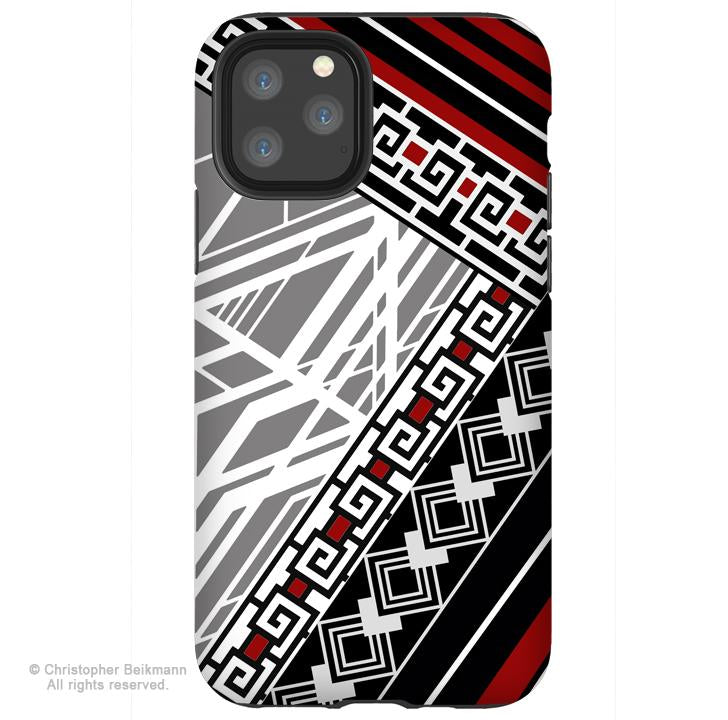 Deco Red - iPhone 11 / 11 Pro / 11 Pro Max Tough Case - Dual Layer Protection for Apple iPhone XI - Black and White Art Deco Pattern Art Case - iPhone 11 Tough Case - Fusion Idol Arts - New Mexico Artist Christopher Beikmann